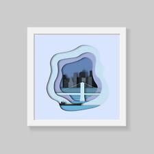 New York Wall Art, layerd 3D effect Print Poster, famous cities wall art