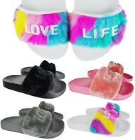 LADIES WOMENS FLUFFY FUR FLAT SLIP ON RUBBER SLIDDERS MULES SANDALS SIZE 3-8 NEW
