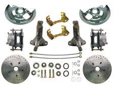 "68-72 Chevy Nova MBM Front 11"" Drilled & Slotted Disc Brake Kit 2"" Drop Spindles"