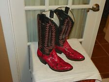 Unbranded BLACK & RED SNAKESKIN COWBOY WESTERN Boots sz Men's 6 D Women's 8 wide