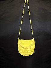 Vintage Delill Italy Yellow Beaded Crochet Hippie Purse Shoulder Bag 60s 70s
