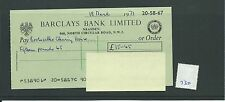 wbc. - CHEQUE - CH730 -  USED -1971 - BARCLAYS, NEASDEN, LONDON NW1