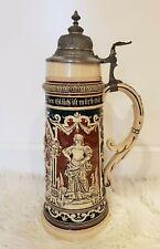 """Antique 2 Liter Lidded German BEER STEIN Large ~16"""" - Gerz molded No 250"""