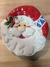 "Ceramic Santa Face Wall Table Decoration 9"" Pre Owned Christmas Decor"