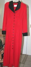Julian Taylor Size 6 Long Red w/Black Trim L/S Dress-preowned