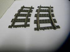 Lego Lot of 2 Genuine Old Dark Gray 9V Curve Train Tracks Part #2867
