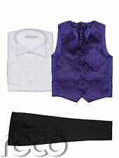 Baby Boys Waistcoat Suit, Page Boy Suits, Black Trousers, Diamond Pattern
