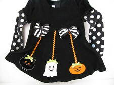 Bonnie Baby Girls Black Dress 24M Pumpkin Ghost Cat Long Sleeve
