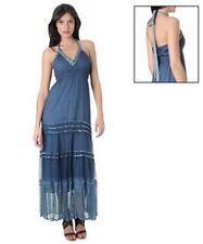 ETHIC chiffon maxi dress abito vestito lungo donna azzurro-blu sfumato S BNWT