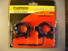 """TRADITIONS A791 ALUMINUM 1"""" MEDIUM SCOPE MOUNTING RINGS GLOSS BLACK WEAVER NEW"""
