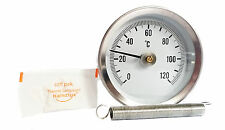PIPE SPRING CLIP-ON THERMOMETER TEMPERATURE GAUGE 63mm 0/120C + Thermal Paste