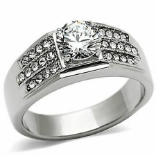 MEN'S PLATINUM/STEEL ALLOY 1.13 CT SIMULATED MOISSANITE RING SIZE 11