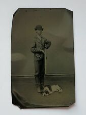 HUNTER WITH BIRD DOG & SHOTGUN ANTIQUE TINTYPE PHOTOGRAPH