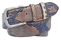 Cintura in Pitone 4 cm lucido unisex Foderata in pelle Bovina Natura con fibbia