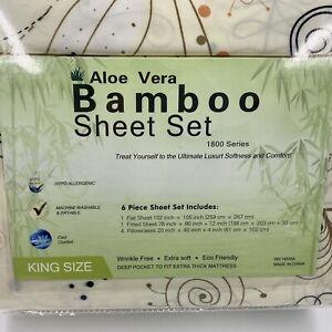 Aloe Vera Bamboo 6-Piece Sheet Set 1800 Series King Size Deep Pocket Floral Soft
