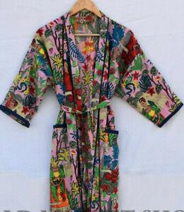 Indian Boho Baumwolle Farida Khalo Aufdruck Lang Kimono Bade Morgenmantel Kleid