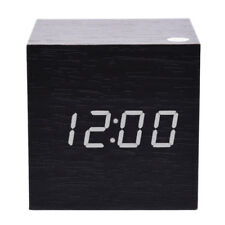 Modern Cube Wooden Wood Digital LED Desk Voice Control Alarm Clock