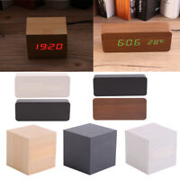 Digital LED Wood Desk Table Alarm Clock Timer Thermometer Snooze Voice Control S