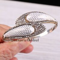 Handmade 925 Sterling Silver White Zircon Ladies Womans Bracelet Bangle