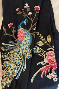 💕JOHNNY WAS KAIRA PEACOCK FLORAL EMBROIDERED BLACK LEGGINGS SZ SMALL NEW🦚