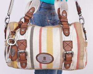 FOSSIL Medium Multicolor Faux  Leather Shoulder Hobo Tote Satchel Purse Bag
