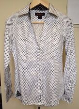 BEN SHERMAN White Black Small Polka Dot Long Sleeve Open V-Neck Button Front S