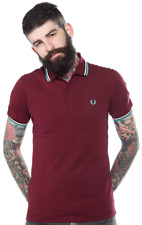 Fred PERRY Slim Fit Twin Tipped Polo Shirt Port/teal/white m3600 XL