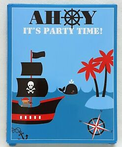 Party Invitations - Pirate - 9 Invitation Cards With Envelopes - Brand New