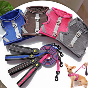 Reflective Cat Walking Harness and Leash Small Dog Soft Mesh Vest Escape Proof