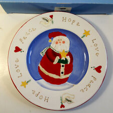 "Vintage Jolly Follies, ""Peace, Hope, Love"" 8"" Santa Plate By Sandi Gore Evans"