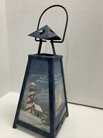 "Christmas Candle Holder Faith Rollins Lighthouse Sailboat nautical Metal Tin 12"""