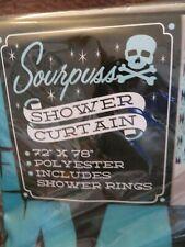 shower curtain Sourpuss BlackTurquoise Diamond shape pattern