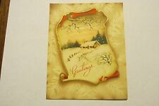 VINTAGE XMAS Christmas Card Antique golden foil greetings home snow winter