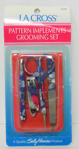 La Cross Sally Hansen Pattern Implements Grooming set 761D6 Red Case