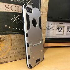 Apple iPhone 7 High Impact Ballistic Shell Rugged Dual Layer Silver Case