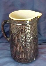 Vintage Brown Stoneware Pitcher Grapes and Trellis Design