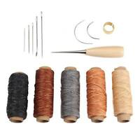 14Pcs/Set Leather Craft Tool Waxed Thread Cord Sewing Needles Shoe Repair Kit GD