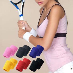 Wrist Sweatbands Unisex NEW Wristband Sports Tennis Squash Badminton Gym Running