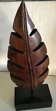 """SMALL WOODEN LEAF SCULPTURE ON A BLACK WOODEN STAND 9.5"""" TALL #B"""
