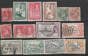 N8 Nigeria - 27 stamps, 3 mint - CV $20.25 - 2 scans