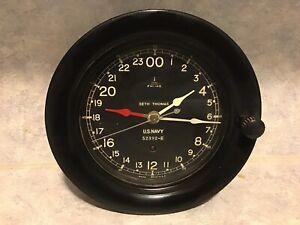 Seth Thomas U.S. NAVY Ship 24 Hour Clock 52392-E WWII