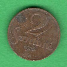 LATVIA LETTLAND 2 SANTIMI 1926 COIN 124