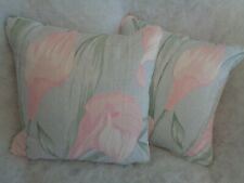 """NEW LISTING ! LILIUM DUCK EGG BY LAURA ASHLEY 1 PAIR OF 18""""CUSHION COVERS"""