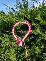 Bracelet Red & White cotton Martenitsa  Martenica Martenitza Martisor Art AE
