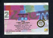 Original 1993 U2 Concert Ticket Stub Zooropa 93 The Zoo TV Tour Cardiff  Wales