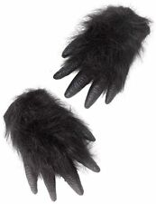 A Pair of Realistic Gorilla Hands with Hair Attached for Fun Fancy Dress - New