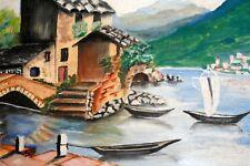 Tableau toile peinture acrylique Paysage vue port bateau lac Sud Provence ?