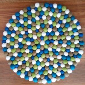 40cm Nepalese Handmade Felt Ball Round Rug Mat Carpet Green Blue Mix 100% Wool