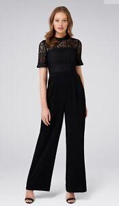 BNWOT Forever New Sunnis Lace Bodice Black Jumpsuit Size 8