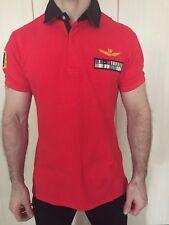 Aeronautica Militar Rojo Camisa Polo De Algodón Talla L